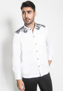 LGS - Baju Koko - Kemeja Koko - Koko Bordir - Motif - Putih - Regular Fit