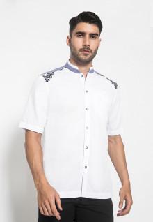LGS - Slim Fit - Baju Koko - Lengan Pendek - Bordir Bulat Navy - Putih