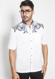 LGS - Slim Fit - Baju Koko - Lengan Pendek - Aksen Bordir Navy - Putih