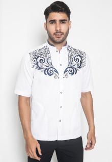 LGS - Regular Fit - Baju Koko - Lengan Pendek - Motif Bordir - Putih