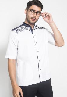 LGS - Baju Koko - Kemeja Koko - Koko Bordir - Motif Kotak - Putih - Regular Fit