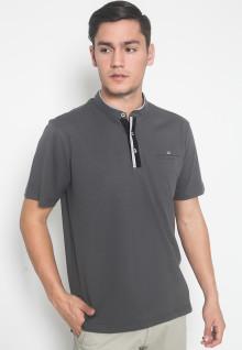 Regular Fit - Kaos Casual - LGS - Warna Abu - Model Kancing
