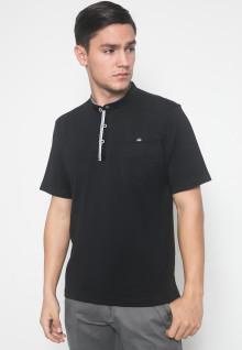 Regular Fit - Kaos Casual - LGS - Warna Hitam - Model Kancing
