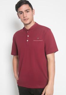 Regular Fit - Kaos Casual - LGS - Warna Marun - Model Kancing