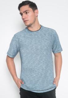 Regular Fit - Kaos Casual - LGS - Warna Biru - Motif Aksen