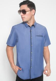 Slim Fit - Kemeja Casual - Motif Polos - Warna Biru