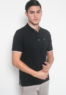 Slim Fit - Kaos Casual - LGS - Warna Hitam - Motif Kancing