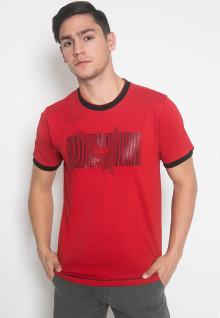 Slim Fit - Kaos Casual - LGS - Warna Merah - Motif Sablon Gambar