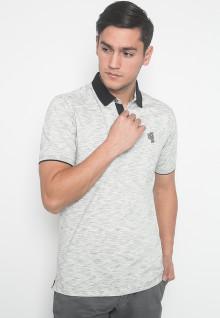 Slim Fit - Kaos Polo - LGS - Warna Putih - Motif Aksen - Logo LGS