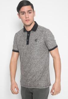 Slim Fit - Kaos Polo - LGS - Warna Abu - Motif Aksen - Logo LGS