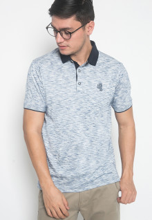 Slim Fit - Kaos Polo - LGS - Warna Biru Muda - Motif Aksen - Logo LGS