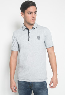 Slim Fit - Kaos Polo - LGS - Warna Putih - Motif Polos - Logo LGS