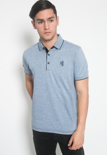 Slim Fit - Kaos Polo - LGS - Warna Biru - Motif Polos - Logo LGS