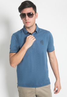 Slim Fit - Kaos Polo - LGS - Warna Biru Laut - Motif Polos - Logo LGS