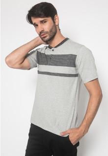 Regular Fit - Kaos Casual - LGS - Warna Abu - Motif 2 Warna