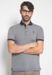 Slim Fit - Kaos Polo - LGS - Warna Abu - Motif Garis Tipis - Logo LGS