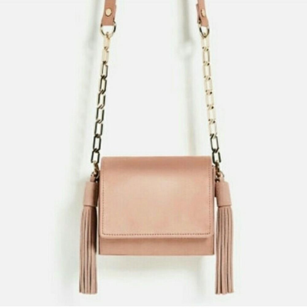 Zara Mini Geometric Crossbody Bag With Tassels