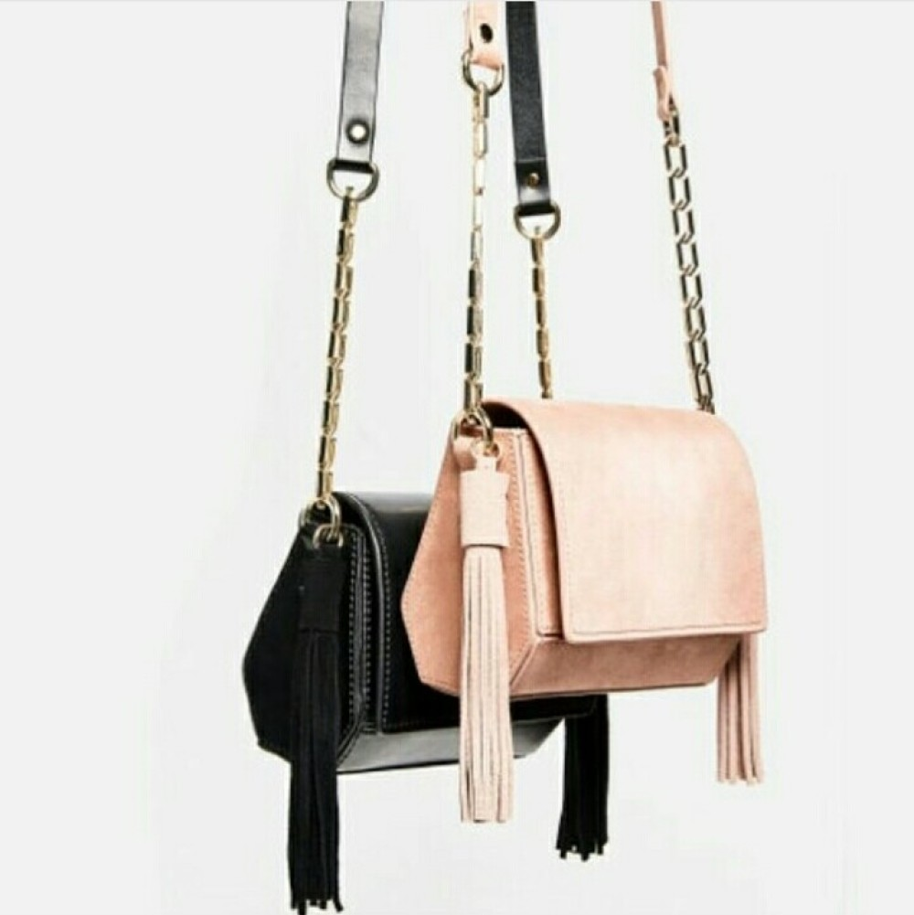 Zara Mini Geometric Crossbody Bag With Tassels