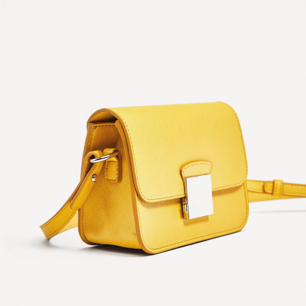 Zara Crossbody Bag With Multicoloured Strap Yellow
