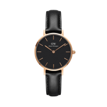 Dw petite leather black rose gold