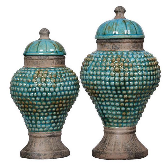 Distressed Blue Terra Cotta Jar w Lid Small