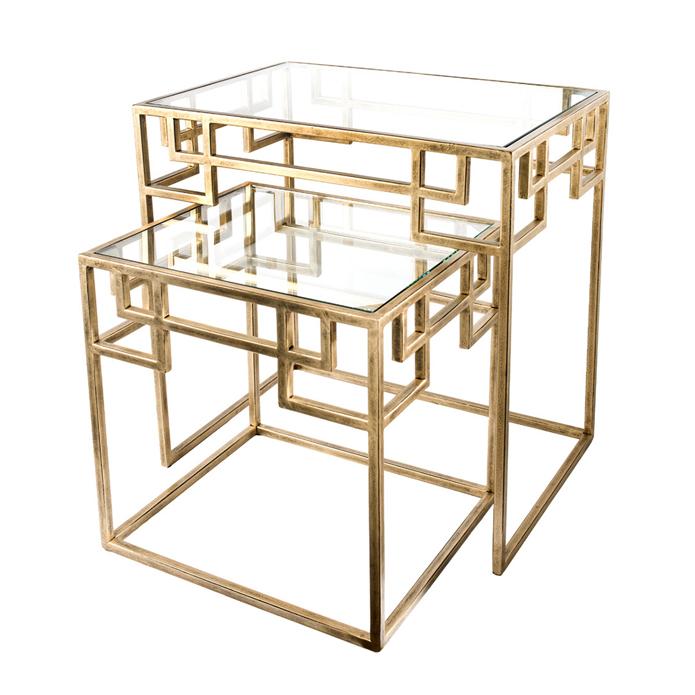 Elizabeth Antique Brass Metal & Glass Nested Side Table