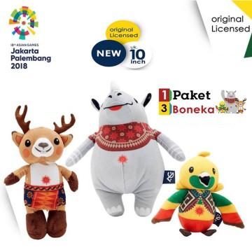 Boneka Maskot ORIGINAL Asian Games 2018 1set 3pcs 10inch image
