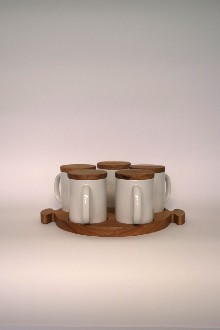 TEGUK DEMI TEGUK mug tray set for 5