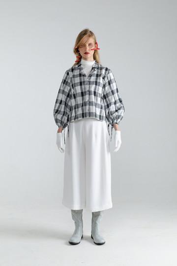 White Tartan Nayma Rope Shirt