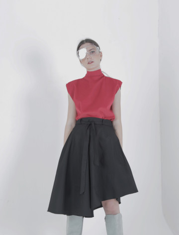 Black Mei Asymmetric Skirt
