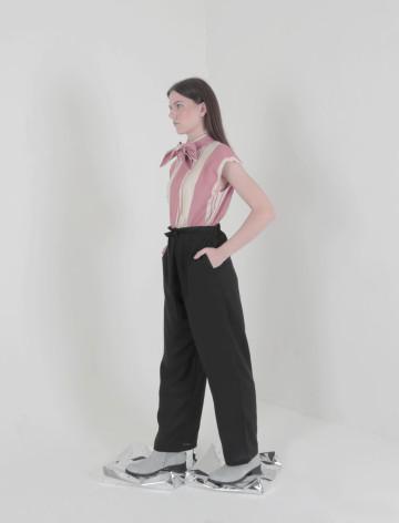 Black Lin Knot Laidback Pants