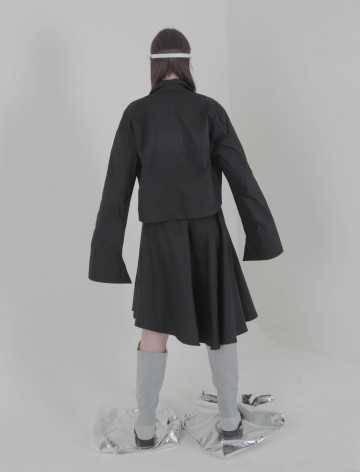 Black Mei Asymmetric Skirt