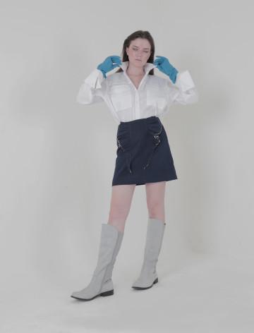 White Rou Crop Shirt Jacket
