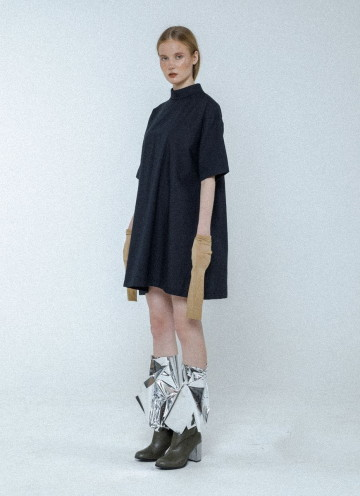 Black Chelsea Pleated Shirt Dress