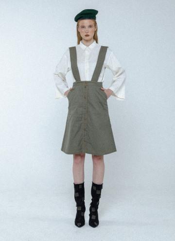 Light Olive Jill Buttoned Skirt