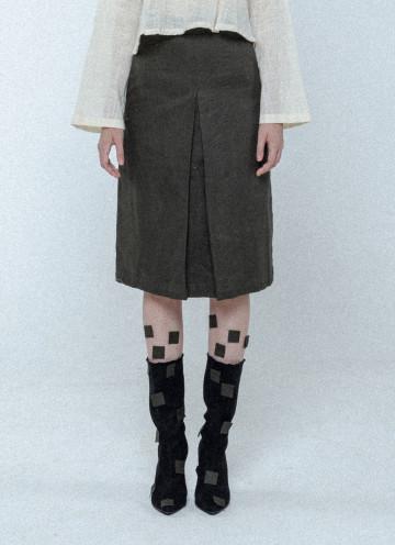 Dark Olive Pleated Pencil Skirt