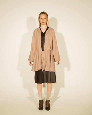 Pale Brown Alamea Pleated Kimono Outer