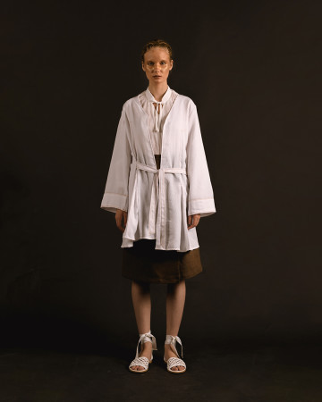 White Alamea Pleated Kimono Outer