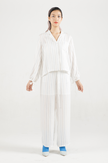White-Blue Pinstripes Lin Knot Laidback Pants