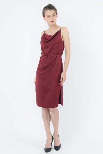 Satin Slip Dress Red