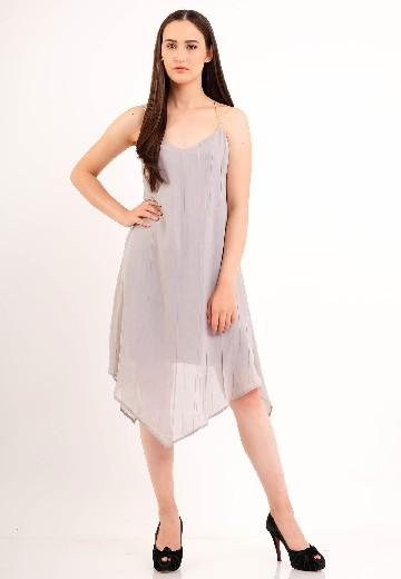 Self - Tie Maxi Dress Grey