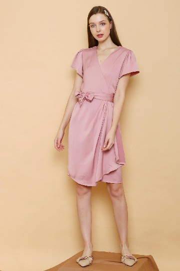 Saten Wrap Dress Pink