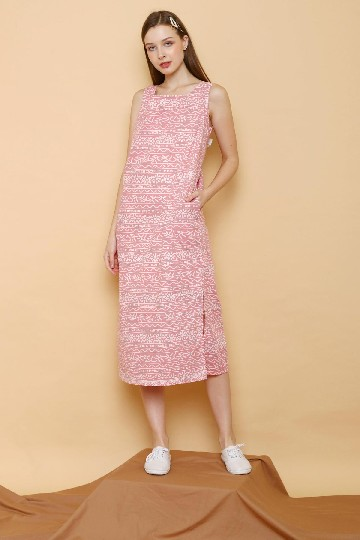 Batik Shift Back Tie Dress