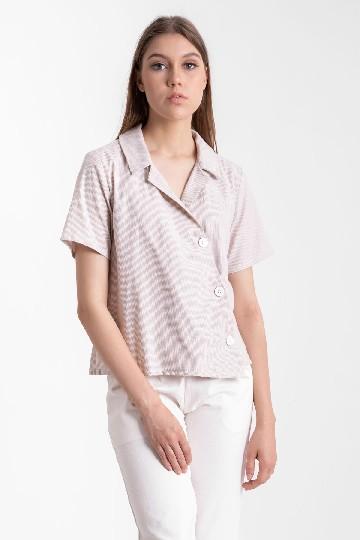 Aria Button Top Stripes