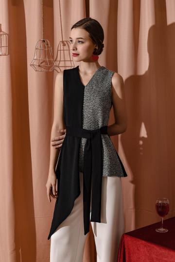 Fung Top Black Tweed