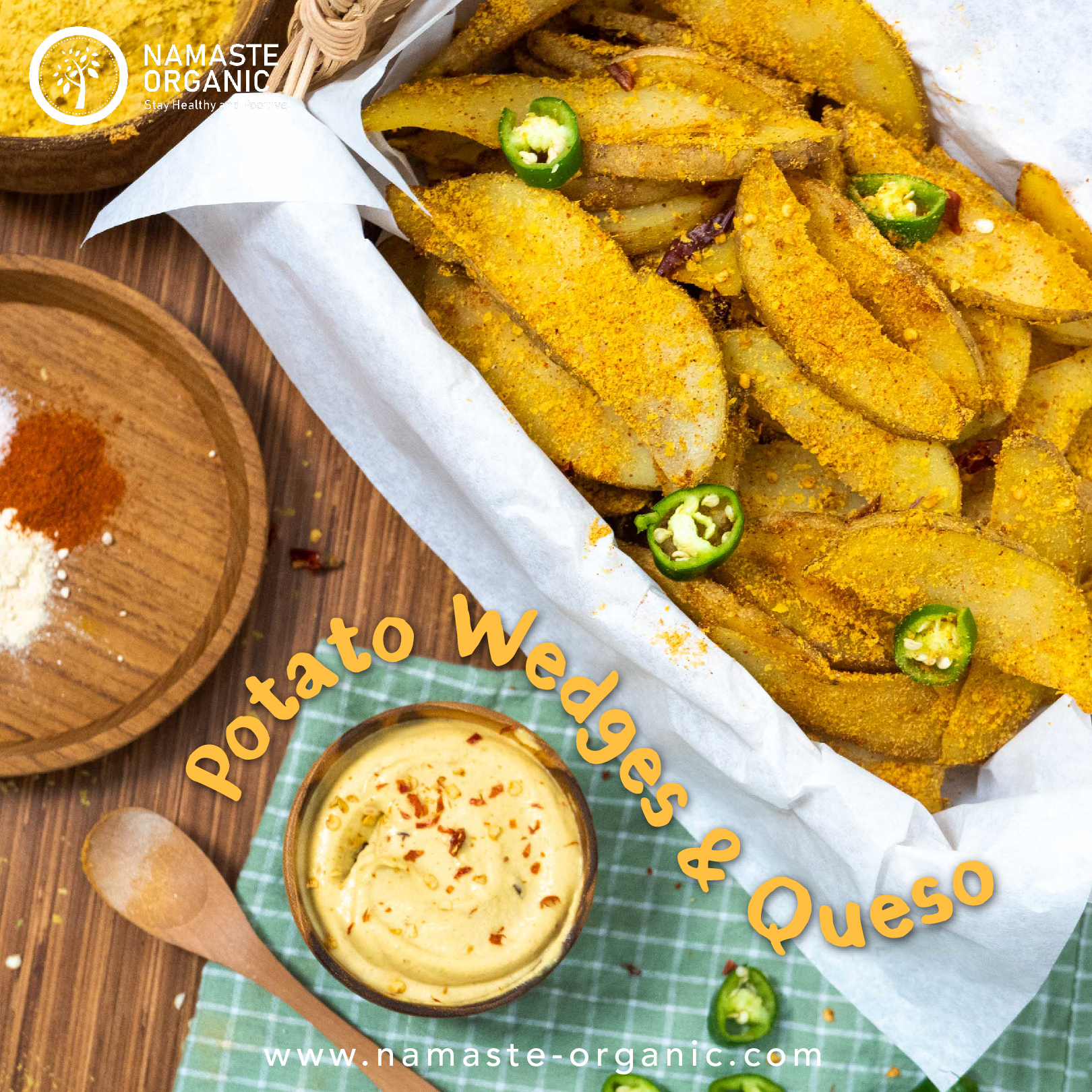 Roasted Potato Wedges with Vegan Cheese Dip image