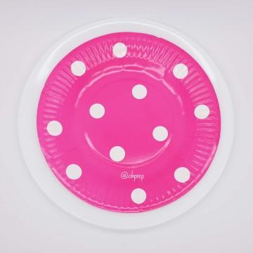 Round Paper Plate-Polkadot Fuchsia image