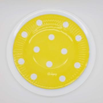 Round Paper Plate-Polkadot Yellow image