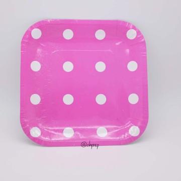 Square Paper Plate-Polkadot Fuchsia image & Paper Plate