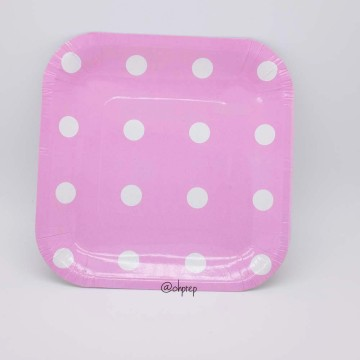 Square Paper Plate-Polkadot Light Pink image & Paper Plate
